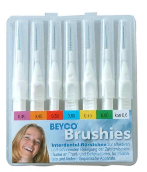 Interdentalbürstchen BEYCO Brushies Etui-Box mit 7 Brushies weiss kpl. mit Griff-Schutzkappen