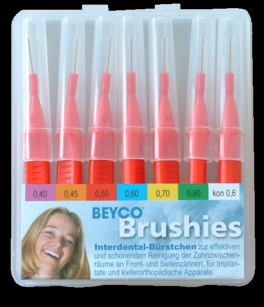 Interdentalbürstchen BEYCO® Brushies Etui-Box mit 7 Brushies kpl. mit Griff-Schutzkappen