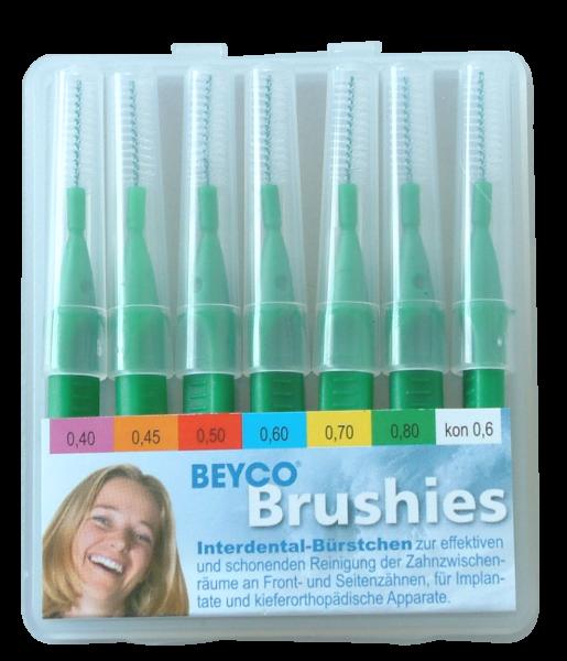 Interdentalbürstchen BEYCO Brushies Etui-Box mit 7 Brushies grün kpl. mit Griff-Schutzkappen